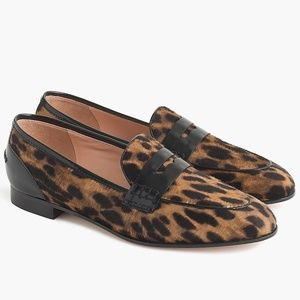 J. Crew Academy Penny Loafers in Leopard Calf 8.5